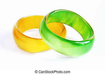bangles - two bright glass bangles: yellow and green...
