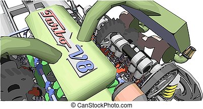 V8 Engine Colour illustration of a car engine - V8 Engine...