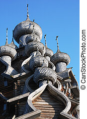 Kizhi - domes of the famous Church of the Transfiguration...