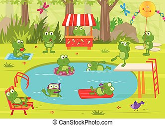 Frogs Pool Party - Cute frogs are having fun at the pool....