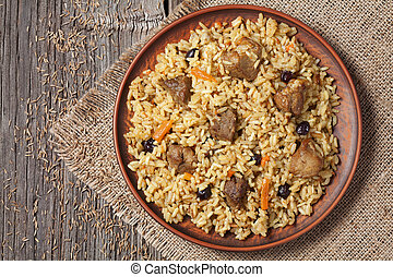 Arabic traditional national rice food pilaf cooked with meat...
