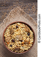 Spicy traditional arabic national rice food pilaf cooked...