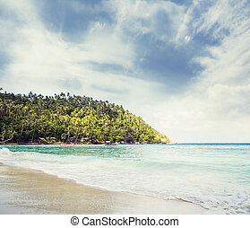 Tropical forest, sea coast and mountains Siamese bay,...