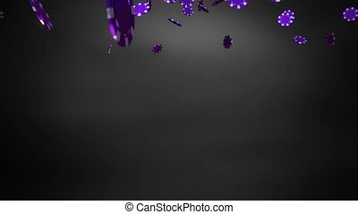 purple Casino chips black - The 3d rendering of many casino...