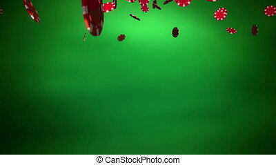 red Casino color chips dropping green