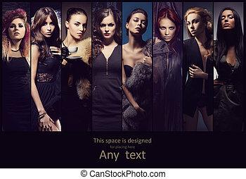joven, mujeres, Posar, en, vestidos,