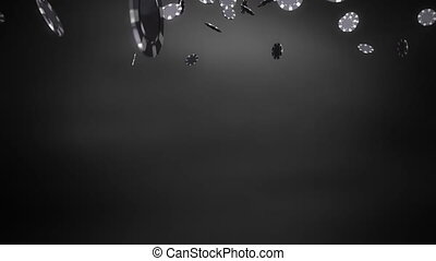 silver Casino chips black - The 3d rendering of many casino...