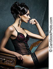 Young woman in sexy erotic lingerie - Gorgeous young woman...