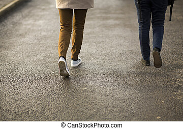 People walking.  - People walking.