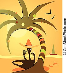 Cartoon illustration with funny abstract man