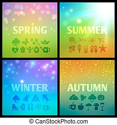Set of colorful seasons backgound with icons