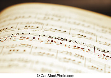printed music - old sheet printed classical music with...