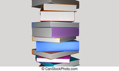 Tower of colorful books turning. Animation in high...