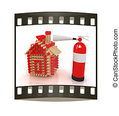 Red fire extinguisher and log house from matches pattern The...