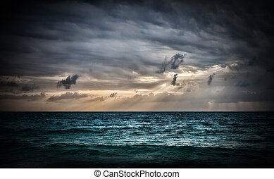 Storm on the sea. Sunrise in Thailand.