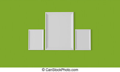 three blank frames on graphic wall