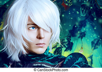 legend - Close-up portrait of a handsome blond elf in the...