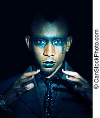gothic look african - gothic look of an young rock singer,...