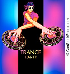Trance party poster - Poster template with club dj for...