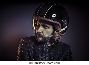 Trip, biker with motorcycle helmet and black leather jacket,...