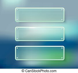 Advertising glass boards on blured background Place your...