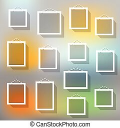 Blank picture frame set on blured background Template for a...