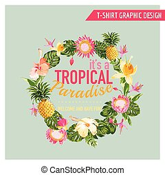 Tropical Flowers Graphic Design - for t-shirt, fashion,...