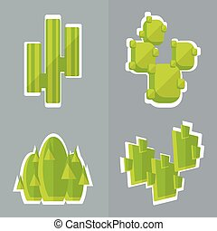 Abstract cactus flat style Set of simple vector cactus