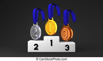 Medals And Podium On Black Background. Loopable 3D render...