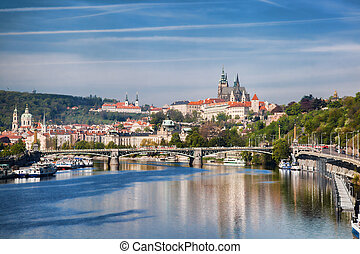 Prague Castle with  bridge  in Czech Republic
