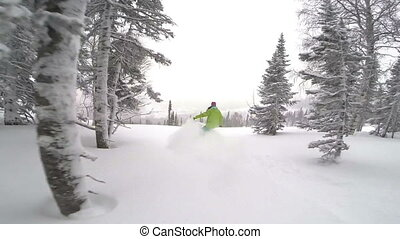 Snowboarder girl rides in powder snow