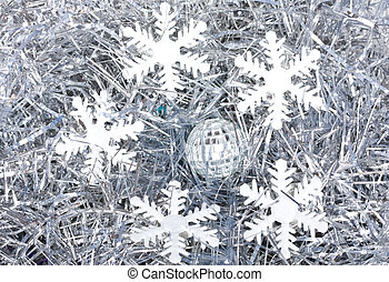 snow flakes on silver background