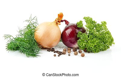Onion,red onion,dill,parsley,pepper isolated on white