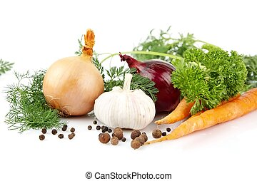 Onion,red onion,dill,parsley,pepper,garlic,carrots on white