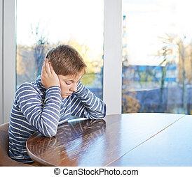 12 yo children composition - Sad 12 years old childen boy...