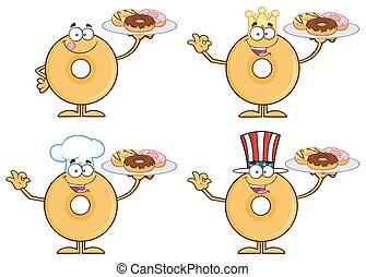 Donut Character 1. Collection Set - Donut Cartoon Character...