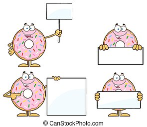 Four Pink Donut 5 Collection - Pink Donut Cartoon Character...