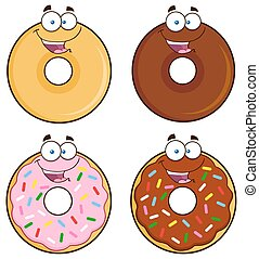 Four Cute Donuts 1. Collection - Four Cute Donuts Cartoon...