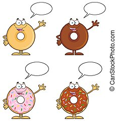 Four Cute Donuts 16. Collection - Four Cute Donuts Cartoon...