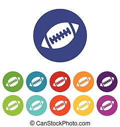 Rugby ball icon set - Set of round colored icons with image...