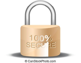 Metallic padlock. 100 Secure