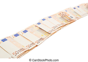 Line of fifty euro bank notes