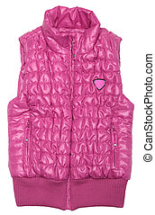Pink ski vest on white background