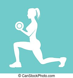 Woman holding dumbbells - Fitness logo woman silhouette....