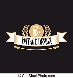 Retro badge with ribbon Original vintage design Creative...