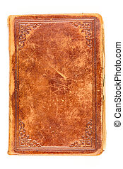 Old book cover isolated on white - Old book leather cover...
