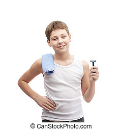 Happy young boy in a sleeveless shirt - Happy young boy in a...