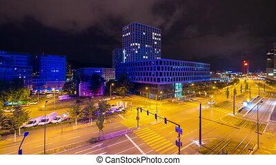 Night Traffic in Zurich, 4k UHD timelapse
