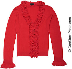 Women\'s Knitted blouse. Red blouse. Isolated object on a...
