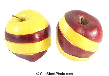 Two mixed apples - Two mixed red and green apples cutted and...